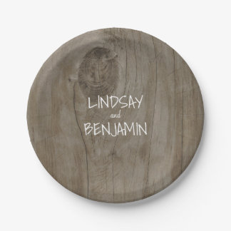 Rustic Barn Wood Country Wedding Paper Plate