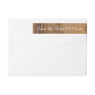 Rustic Barn Wood Country Wedding Save the Date Wrap Around Label