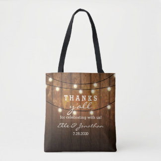 Rustic Barn Wood Country Wedding Thanks Y'All Tote Bag