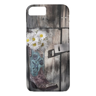rustic barn wood cowboy boots western country iPhone 8/7 case