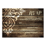Rustic Barn Wood Damask Vintage Wedding RSVP Card 9 Cm X 13 Cm Invitation Card