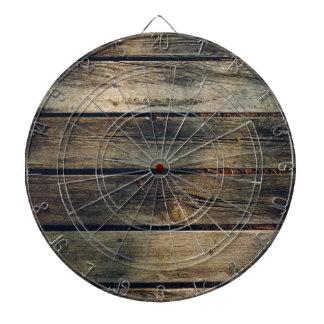 Rustic Barn Wood Dartboard With Darts