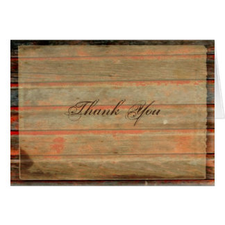 Rustic Barn Wood Graffiti Heart Thank You card