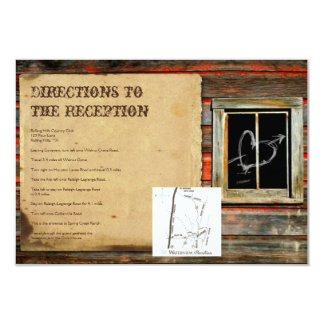Rustic Barn Wood Graffiti Heart Wedding Directions Card