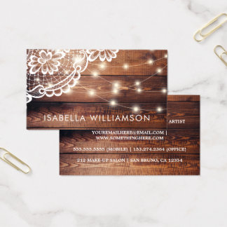 Rustic Barn Wood Lace and String Lights Business Card
