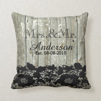 rustic barn wood  lace country wedding mr and mrs cushion