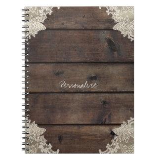 Rustic Barn Wood & Lace Romantic Elegant Custom Spiral Notebook