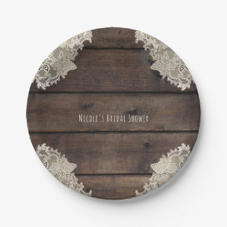 Rustic Barn Wood & Lace Romantic Wedding Reception Paper Plate