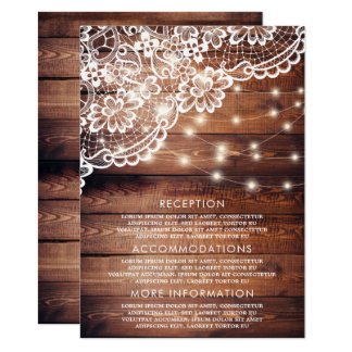 Rustic Barn Wood Lace & String Lights Guest Card