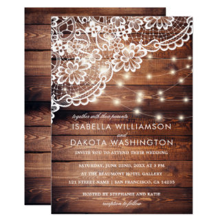 Rustic Barn Wood Lace & String Lights Wedding Card