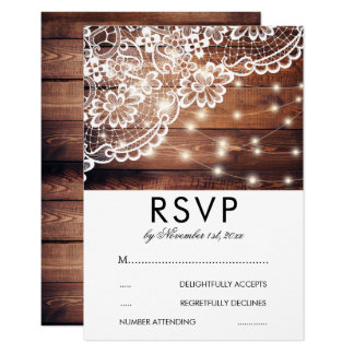 Rustic Barn Wood Lace & String Lights Wedding RSVP Card
