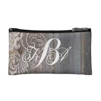 rustic barn wood lace western country monograms cosmetic bags