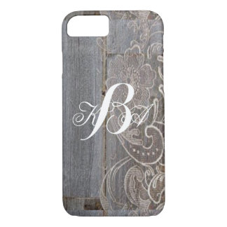 rustic barn wood lace western country monograms iPhone 8/7 case