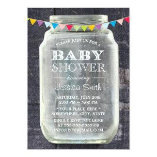 Rustic Barn Wood Mason Jar Baby Shower 11 Cm X 16 Cm Invitation Card