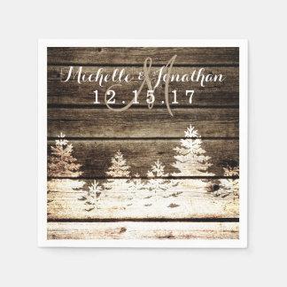 Rustic Barn Wood Pine Trees Winter Wedding Napkin Paper Serviettes