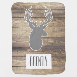 Rustic Barn Wood Planks Grey Deer Bust & Name Baby Blanket