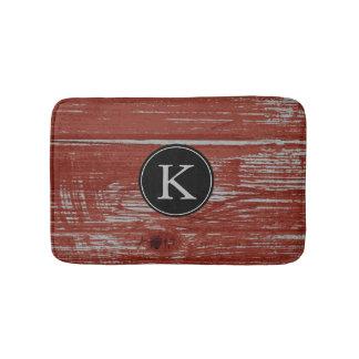 Rustic Barn Wood   Red Monogrammed Initial Bath Mat