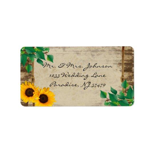 Rustic Barn Wood Sunflower Address Label