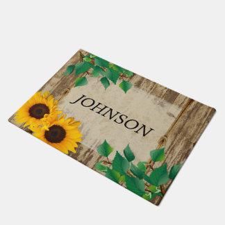 Rustic Barn Wood Sunflower Doormat  | Zazzle