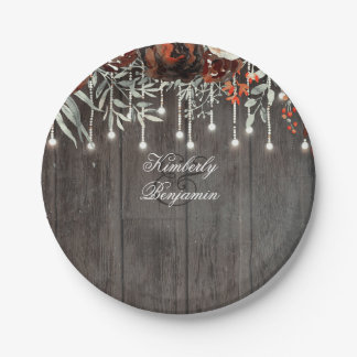 Rustic Barn Wood Texture Old Aged Burgundy Floral Paper Plate