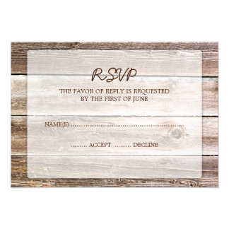 Rustic Barn Wood Wedding RSVP Response Card Announcements