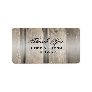 Rustic Barn Wood Wedding Thank You Favor Tag Address Label