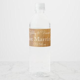 Rustic Barn Wood Wedding Water Bottle Label