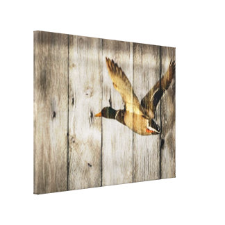 Rustic Barn wood Western Country flying Wild Duck Canvas Print