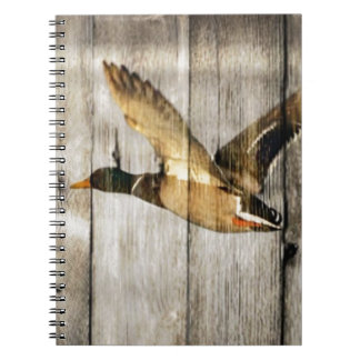Rustic Barn wood Western Country flying Wild Duck Notebook