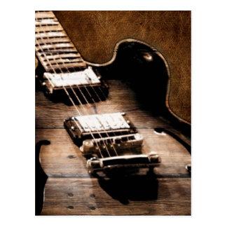 Rustic Barn Wood Western Country Music Guitar Postcard