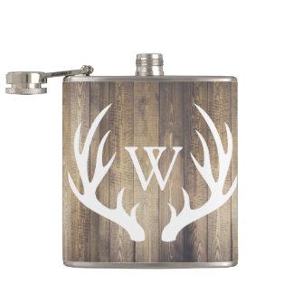Rustic Barn Wood & White Deer Antlers Hip Flask