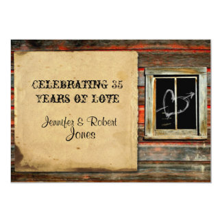 Rustic Barn Wood with Graffiti Heart Anniversary Card