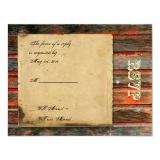 Rustic Barn Wood with Graffiti Heart Response Card