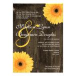 Rustic Barn Wood Yellow Daisy Wedding Invitations