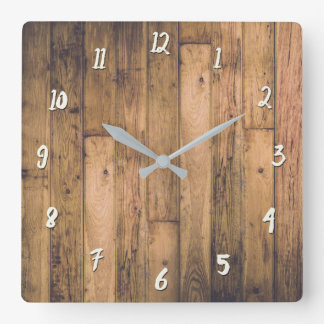 Rustic Barn Wooden Wood Planks Farmhouse Square Wall Clock