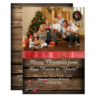 Rustic Barnwood Candle Holly Berries Photo Xmas Card