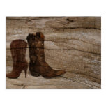 Rustic barnwood cowboy boots western country postcard
