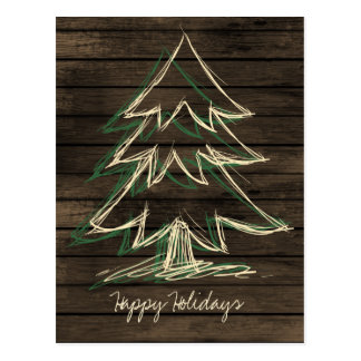 Rustic Barnwood Pine Tree Corporate PostCard