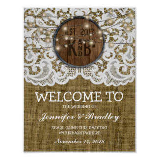 Rustic Barrel Lace Burlap Wedding | Hashtag Poster