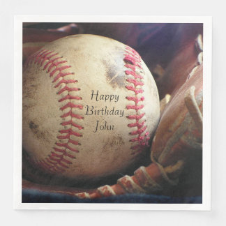 Rustic Baseball Happy Birthday Name Napkins Paper Napkins