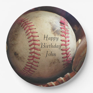 Rustic Baseball Happy Birthday Name Plates 9 Inch Paper Plate