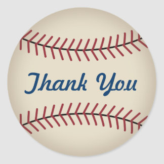 Rustic Baseball Thank You Stickers