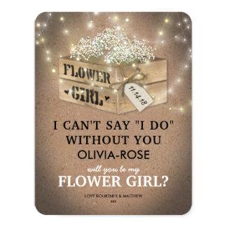 Rustic Be My Flower Girl   Elegant Twinkle Lights Card