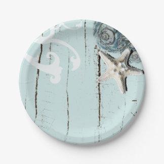 rustic beach aqua blue  seashell starfish wedding paper plate