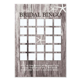 Rustic Beach Driftwood Bridal Shower Bingo Cards