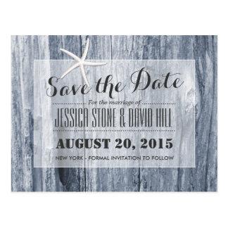 Rustic Beach Driftwood & Starfish Save the Date Postcard