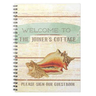 Rustic Beach House Personalized Welcome Notebook