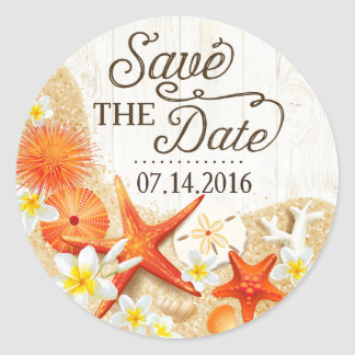 Rustic Beach Seashells Floral Save the Date Label Round Sticker