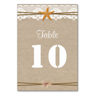 Rustic Beach Starfish Lace Wedding Table Number