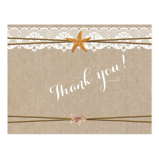 Rustic Beach Starfish Lace Wedding Thank You Postcard
